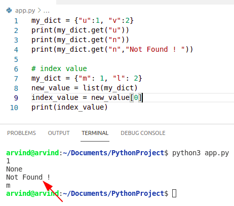 Python dictionary index vs get
