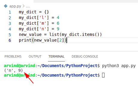 Python dictionary index