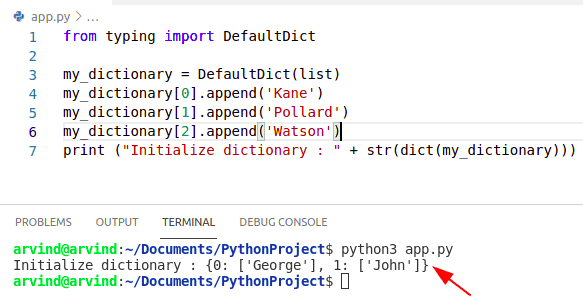 Python dictionary initialize by defaultdict method