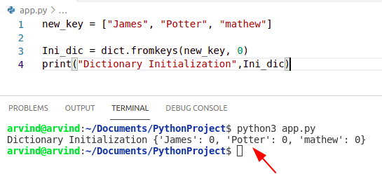 Python dictionary initialize by fromkeys method