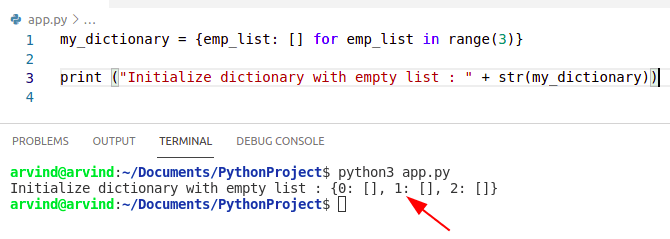 Python dictionary initialize with empty list