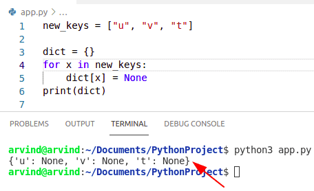 Python dictionary initialize with keys iterate method
