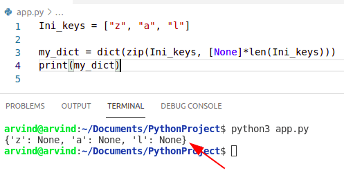 Python dictionary initialize with keys zip method