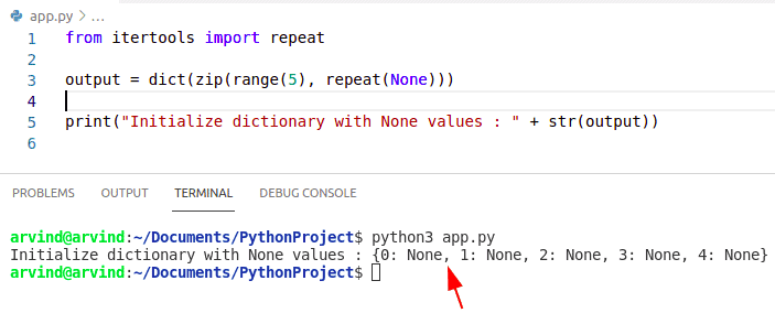 Python dictionary initialize with none value