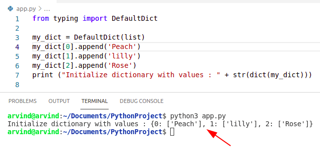 Python dictionary initialize with value by defaultdict method