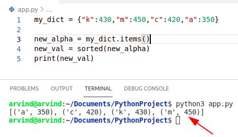 Python dictionary sort by alphabetically