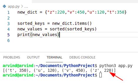 Python dictionary sort by key alphabetically