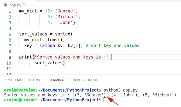 Python dictionary sort by key value