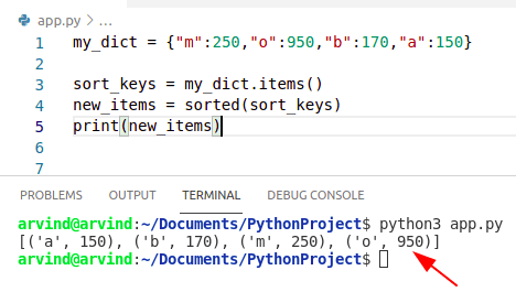 Python dictionary sort by key
