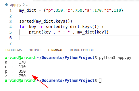 Python dictionary sort by keys method