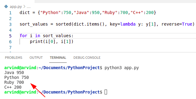 Python dictionary sort by value