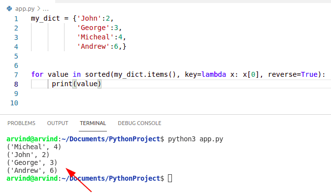 Python dictionary sort by value alphabetically
