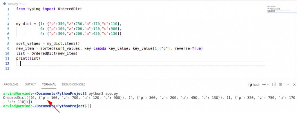 Python dictionary sort by value descending