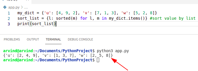 Python dictionary sort by value list