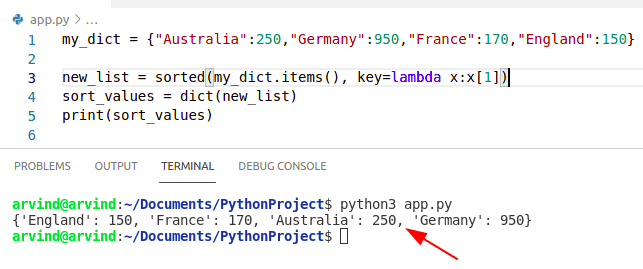 Python dictionary sort by values using sorted method