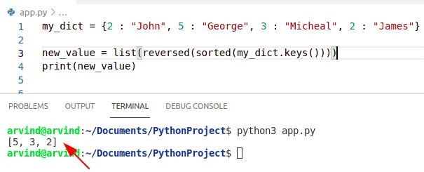 Python dictionary sort reverse keys method