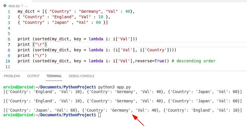 Python dictionary sort with lambda