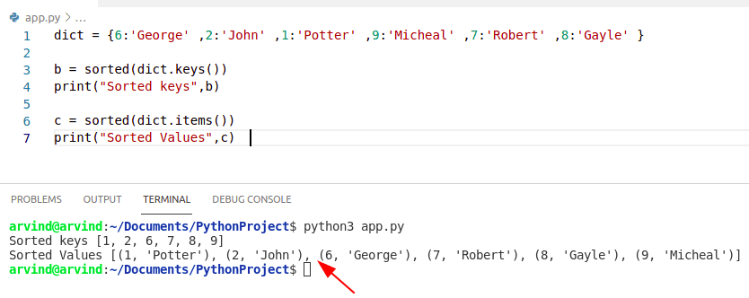 Python dictionary sort