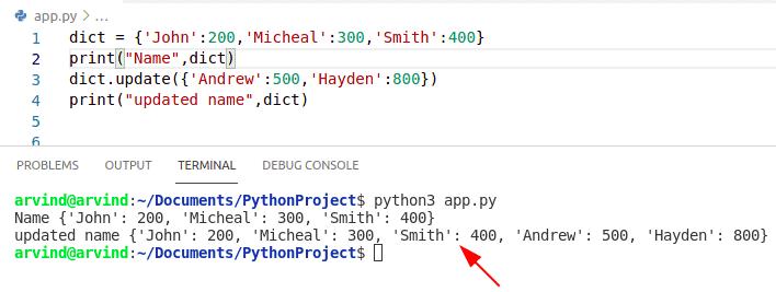 Python dictionary update 2nd method