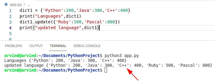 Python dictionary update method
