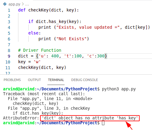Python dictionary update value if key exists error message