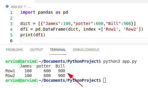 Python dictionary values list to dataframe with index