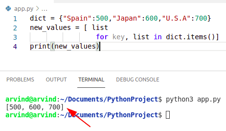 Python dictionary values to list by item method