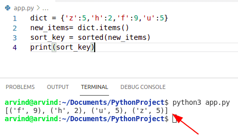 Python dictionary values to list sorted by key