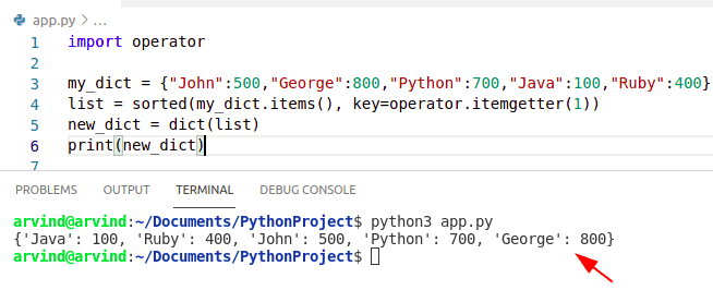 Python dictionary values to list sorted by values operator method