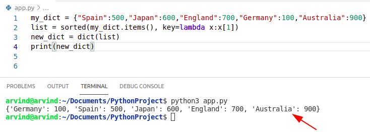 Python dictionary values to list sorted by values
