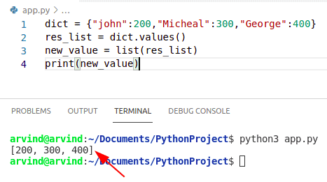 Python dictionary values to list