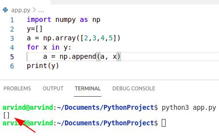 Python empty numpy array without shape