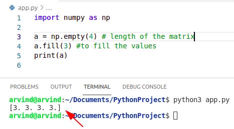 Python fill empty numpy array
