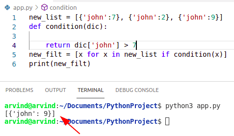 Python filter dictionary from list