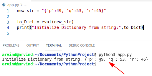 Python initialize dictionary from string