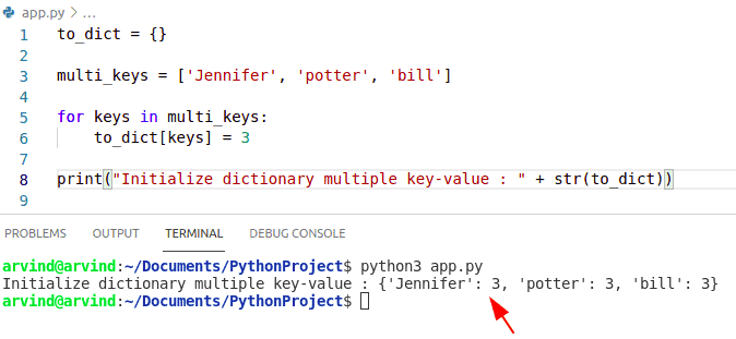 Python initialize dictionary with multiple keys
