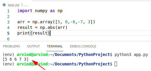 Python numpy absolute value abs method