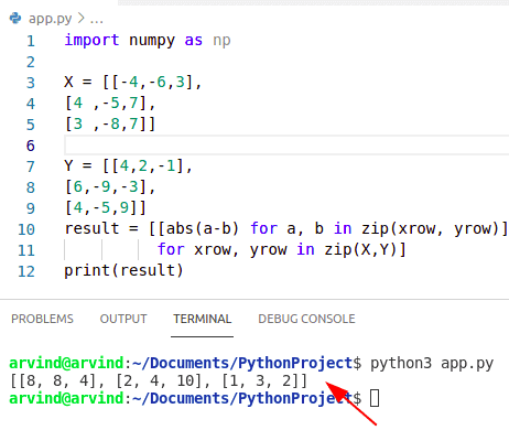 Python numpy absolute value difference abs