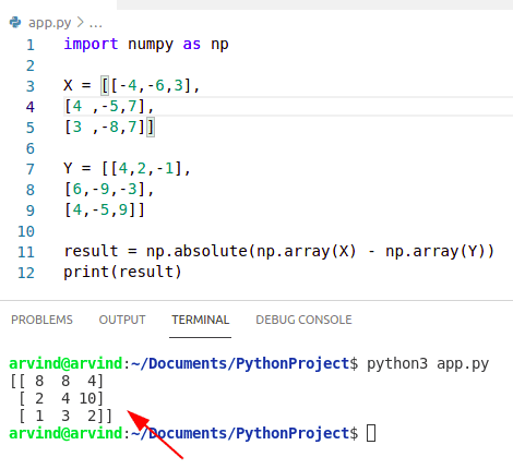 Python numpy absolute value difference