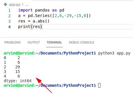 Python numpy absolute value of column in pandas
