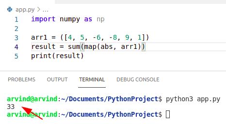 Python numpy absolute value sum abs method