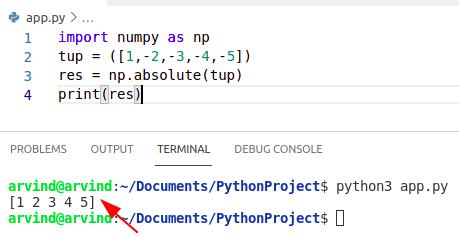 Python numpy absolute value tuple
