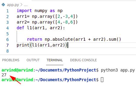 Python numpy array absolute value sum