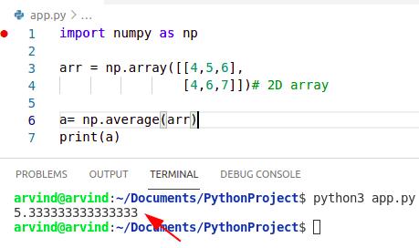 Python numpy average 2d array