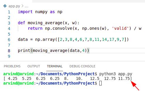 Python numpy average filter
