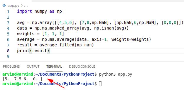 Python numpy average ignore nan