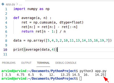 Python numpy average moving filter