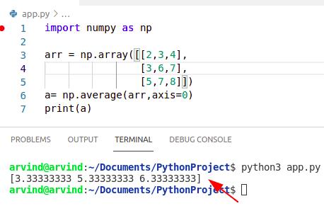 Python numpy average of columns