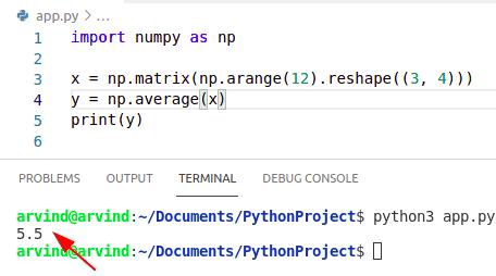 Python numpy average of matrix