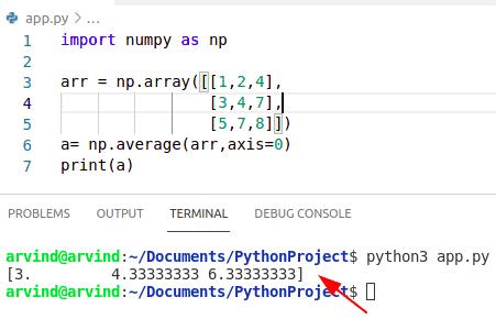 Python numpy average value